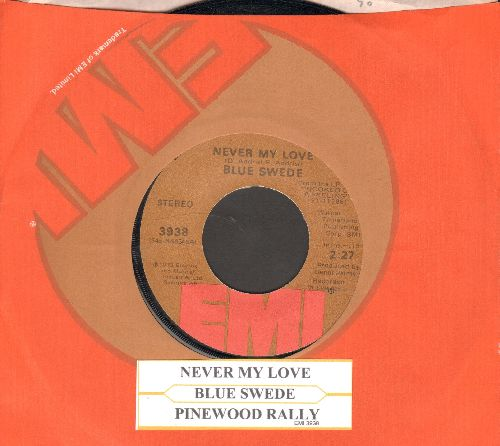 Blue Swede - Never My Love/Pinewood Rally (with EMI company sleeve and juke box label) - NM9/ - 45 rpm Records