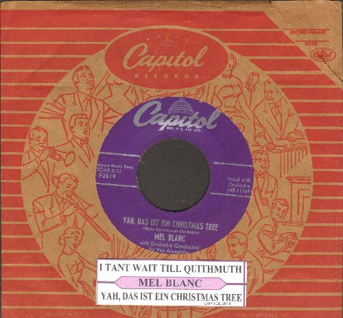 Blanc, Mel - Yah, Das Ist Ein Christmas Tree/I Tant WaitTill Quithmuth (RARE Novelty 2-sider with juke box label and vintage Capitol company sleeve) - EX8/ - 45 rpm Records