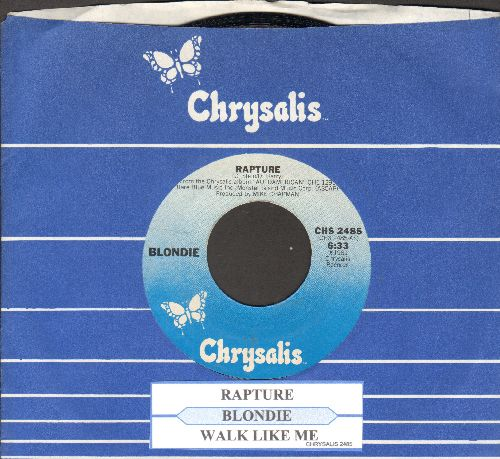 Blondie - Rapture (first major hit by a white artist to embrace Rap Music)/Walk Like Me (with juke box label and Crysalis company sleeve) - EX8/ - 45 rpm Records
