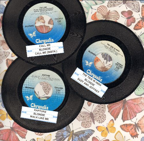 Blondie - 3-Pack of first pressings with juke box labels! Hits include Call Me, The Tide Is High, Rapture. Shipped in plain white paper sleeves. - VG7/ - 45 rpm Records