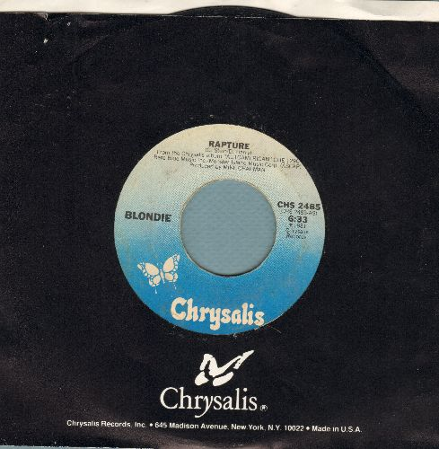 Blondie - Rapture (first major hit by a white artist to embrace Rap Music)/Walk Like Me (with Crysalis company sleeve) - NM9/ - 45 rpm Records