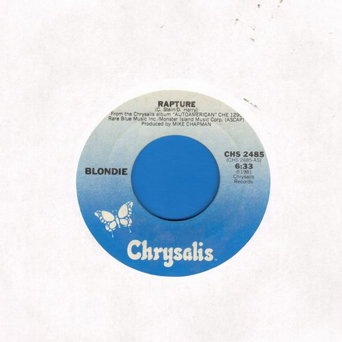 Blondie - Rapture (first major hit by a white artist to embrace Rap Music)/Walk Like Me  - EX8/ - 45 rpm Records