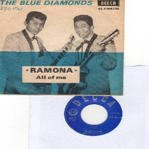 Blue Diamonds - All Of Me/Ramona (FANTASTIC Rock & Roll versions of the Pop Standards) (Danish Pressing with picture sleeve, sung in English) - NM9/EX8 - 45 rpm Records