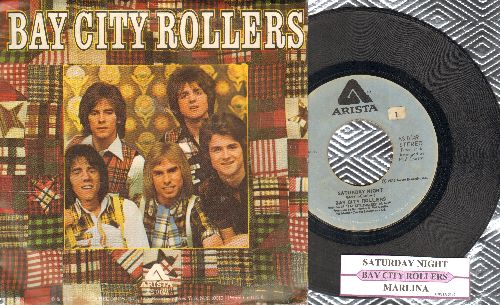 Bay City Rollers - Saturday Night (PARTY FAVORITE!)/Marlina (with picture sleeve and juke box label) - EX8/EX8 - 45 rpm Records