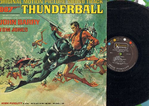 Barry, John - Thunderball - Original Motion Picture Sound Track arranged and conducted by John Barry featuring Title Song by Tom Jones (Vinyl MONO LP record, lower right side of cover has some water damage) - NM9/VG6 - LP Records