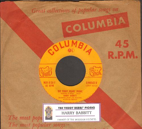 Babbitt, Harry - The Teddy Bears' Picnic/Parade Of The Wooden Soldiers (with vintage Columbia company sleeve and juke box label) - VG7/ - 45 rpm Records