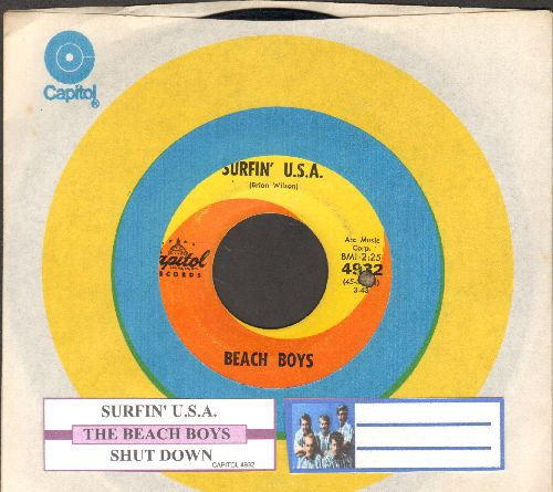 Beach Boys - Surfin' U.S.A./Shut Down (first pressing with juke box label and Capitol company sleeve) - EX8/ - 45 rpm Records