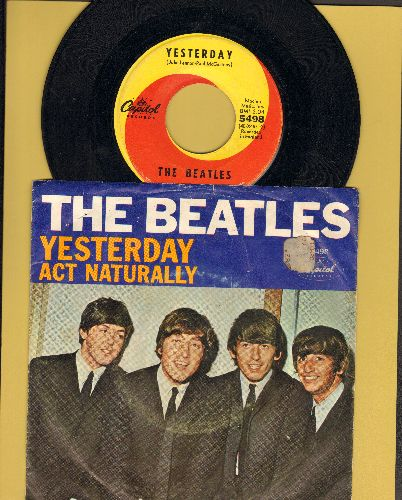 Beatles - Yesterday/Act Naturally (yellow/orange swirl first issue with picture sleeve) - EX8/VG6 - 45 rpm Records