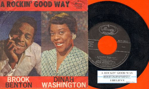 Washington, Dinah & Brook Benton - A Rockin' Good Way/I Believe (with juke box label and picture sleeve) - NM9/VG6 - 45 rpm Records