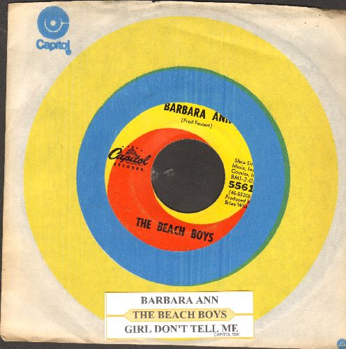 Beach Boys - Barbara Ann/Girl Don't Tell Me (with Capitol company sleeve and juke box label) (wol) - EX8/ - 45 rpm Records