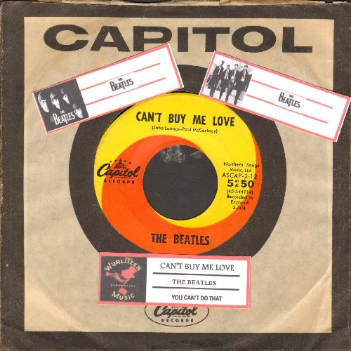 Beatles - Can't Buy Me Love/You Can't Do That (with juke box label and Capitol company sleeve) - EX8/ - 45 rpm Records