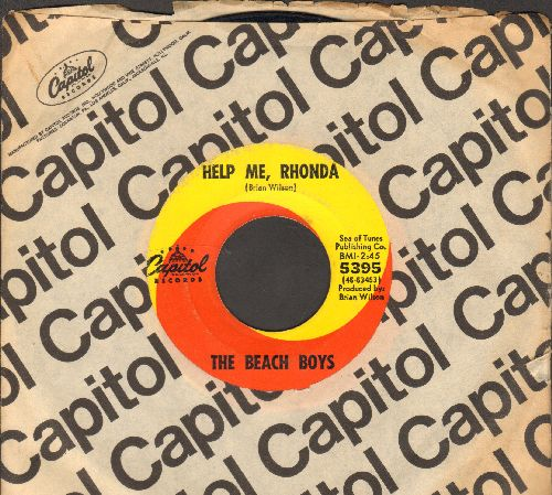 Beach Boys - Help Me, Rhonda/Kiss Me, Baby (with Capitol company sleeve) - VG7/ - 45 rpm Records