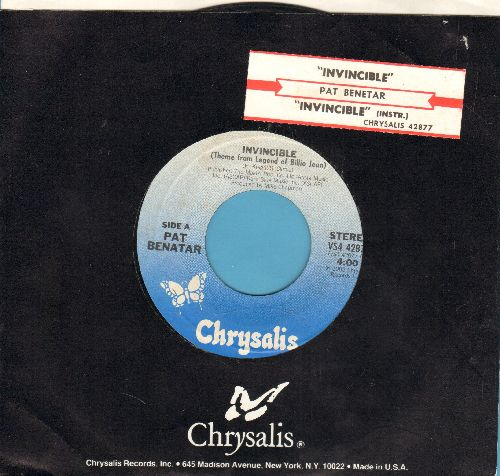 Benatar, Pat - Invincible (Theme From The Legend Of Billie Jean)/Instrumental version (with juke box label and Chrysalis company sleeve) - NM9/ - 45 rpm Records