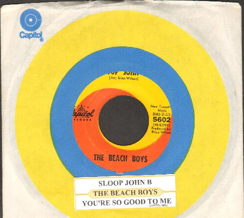 Beach Boys - Sloop John B/You're So Good To Me (orange/yellow swirl first issue with juke box label and Capitol company sleeve) - VG7/ - 45 rpm Records