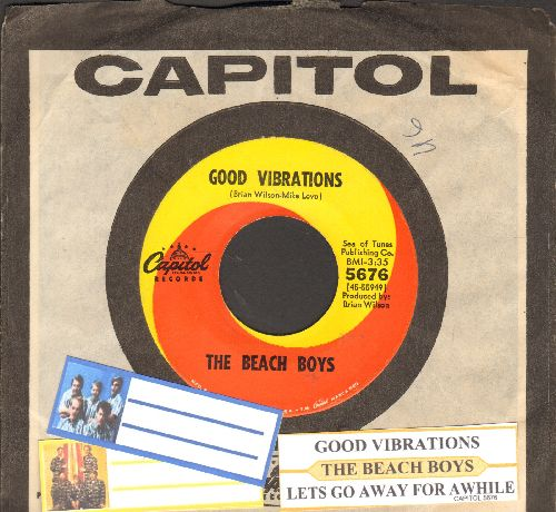 Beach Boys - Good Vibrations/ Let's Go Away For Awhile (with juke box label and Capitol company sleeve) - EX8/ - 45 rpm Records