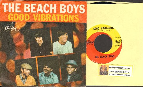 Beach Boys - Good Vibrations/Let's Go Away For Awhile (with RARE picture sleeve and juke box label) - NM9/EX8 - 45 rpm Records