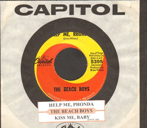 Beach Boys - Help Me, Rhonda/Kiss Me, Baby (with juke box label and Capitol company sleeve) - VG7/ - 45 rpm Records