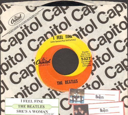 Beatles - I Feel Fine/She's A Woman (orange/yellow swirl first issue with juke box label and Capitol company sleeve) - VG7/ - 45 rpm Records