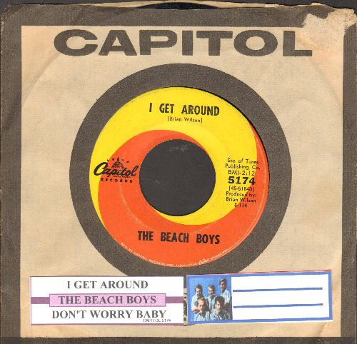 Beach Boys - I Get Around/Don't Worry Baby (with juke box label and Capitol company sleeve) - VG7/ - 45 rpm Records