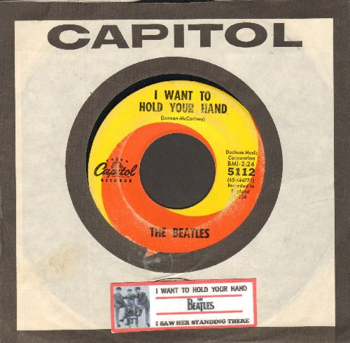 Beatles - I Want To Hold Your Hand/I Saw Her Standing There (first pressing with Capitol company sleeve and juke box label) - VG7/ - 45 rpm Records