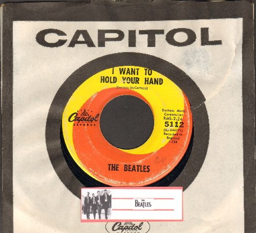 Beatles - I Want To Hold Your Hand/I Saw Her Standing There (orange/yellow swirl first issue with Capitol company sleeve) - VG7/ - 45 rpm Records