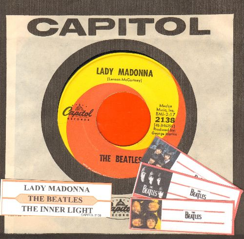 Beatles - Lady Madonna/The Inner Light (orange/yellow swirl first issue with juke box label and Capitol company sleeve) - EX8/ - 45 rpm Records