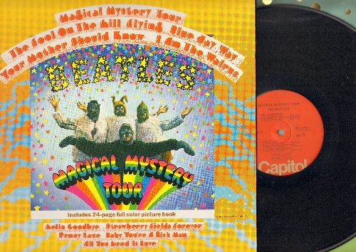 Beatles - Magical Mystery Tour: I Am The Walrus, Hello Goodbye, Penny Lane, All You Need Is Love (vinyl STEREO LP record, gate-fold cover with 24-page full color picture book, NICE condition!) - NM9/NM9 - LP Records
