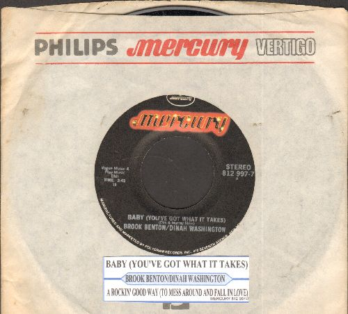 Washington, Dinah & Brook Benton - Baby (You've Got What It Takes)/A Rockin' Good Way (double-hit re-issue with juke box label and Mercury company sleeve) - NM9/ - 45 rpm Records