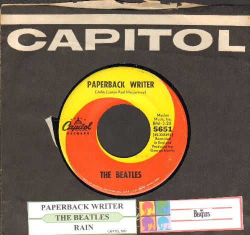 Beatles - Paperback Writer/Rain (with juke box label und Capitol company sleeve) - VG7/ - 45 rpm Records