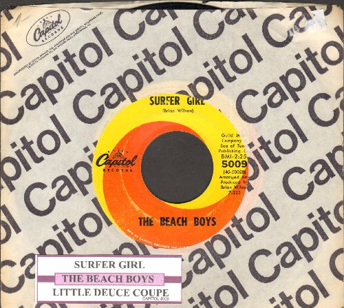 Beach Boys - Surfer Girl/Little Deuce Coupe (first pressing with juke box label and Capitol company sleeve) - VG7/ - 45 rpm Records