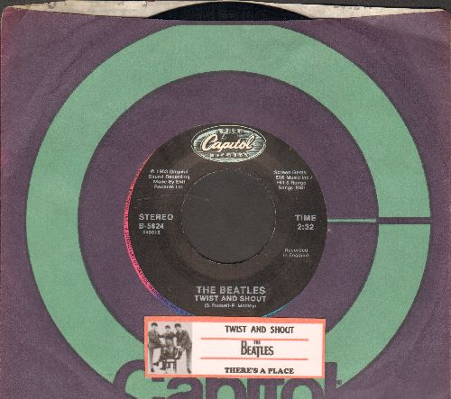 Beatles - Twist And Shout/There's A Place (1980s re-issue with juke box label and company sleeve) - EX8/ - 45 rpm Records