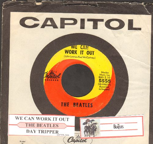 Beatles - We Can Work It Out/Day Tripper (with juke box label and Capitol company sleeve) - EX8/ - 45 rpm Records