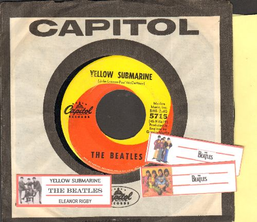 Beatles - Yellow Submarine/Eleanor Rigby (with juke box label and Capitol company sleeve) - VG7/ - 45 rpm Records