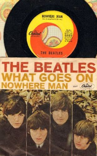 Beatles - Nowhere Man/What Goes On (first pressing with picture sleeve) - EX8/VG7 - 45 rpm Records