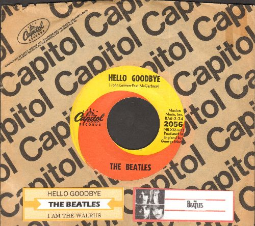 Beatles - Hello Goodbye/I Am The Walrus (orange/yellow swirl first issue with juke box label and Capitol company sleeve) - EX8/ - 45 rpm Records