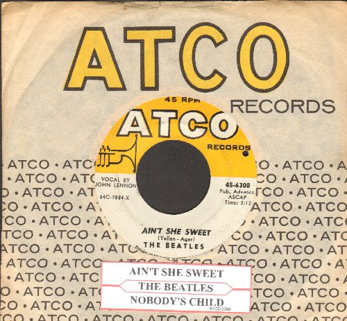 Beatles - Ain't She Sweet/Nobody's Child (with juke box label and Atco company sleeve)(bb) - NM9/ - 45 rpm Records