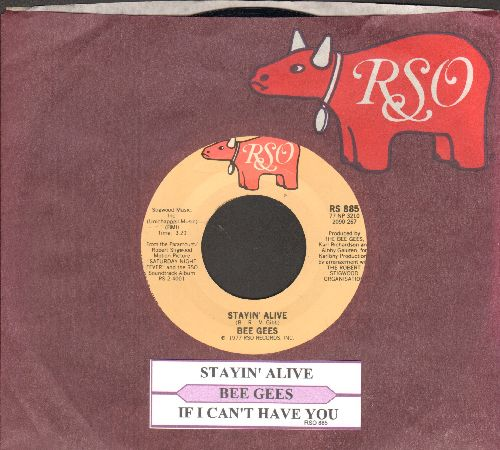 Bee Gees - Stayin' Alive/If I Can't Have You (with juke box label and RSO company sleeve) - NM9/ - 45 rpm Records