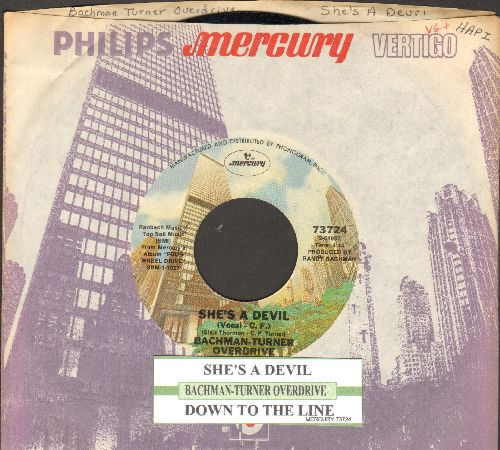 Bachman-Turner Overdrive - She's A Devil/Down To The Line (with juke box label and company sleeve) - NM9/ - 45 rpm Records