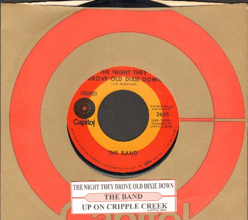 Band - The Night They Drove Old Dixie Down/Up On Cripple Creek (with juke box label and Capitol company sleeve) - EX8/ - 45 rpm Records