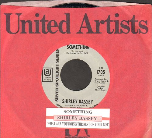 Bassey, Shirley - Something/What Are You Doing The Rest Of Your Life (double-hit reissue with United Artists company sleeve) - NM9/ - 45 rpm Records