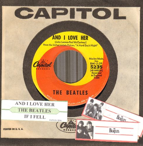 Beatles - And I love Her/If I Fell (orange/yellow swirl first issue with juke box label and Capitol company sleeve) - EX8/ - 45 rpm Records
