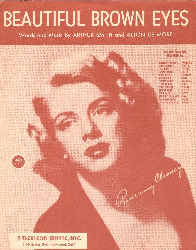 Clooney, Rosemary - Beautiful Brown Eyes - SHEET MUSIC for the song made popular by many artists, including Rosemary Clooney (this is SHEET MUSIC, not any other kind of media!) - EX8/ - Sheet Music