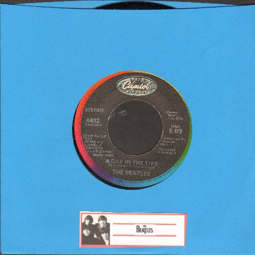 Beatles - A Day In The Life/Sgt. Pepper's Lonely Hearts Club Band/With A Little Help Of My Friends (multi-color circle label re-issue) - EX8/ - 45 rpm Records