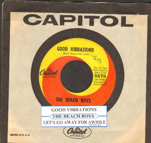 Beach Boys - Good Vibrations/ Let's Go Away For Awhile (with juke box label and Capitol company sleeve) - VG7/ - 45 rpm Records