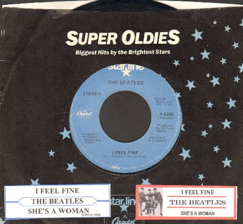 Beatles - I Feel Fine/She's A Woman (re-issue with juke box label and Capitol company sleeve) - EX8/ - 45 rpm Records