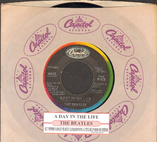 Beatles - A Day In The Life/Sgt. Pepper's Lonely Hearts Club Band/With A Little Help From My Friends (re-issue with juke box label and Capitol company sleeve) - EX8/ - 45 rpm Records