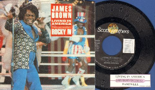 Brown, James - Living In America/Farewell (with juke box label and picture sleeve) - NM9/EX8 - 45 rpm Records