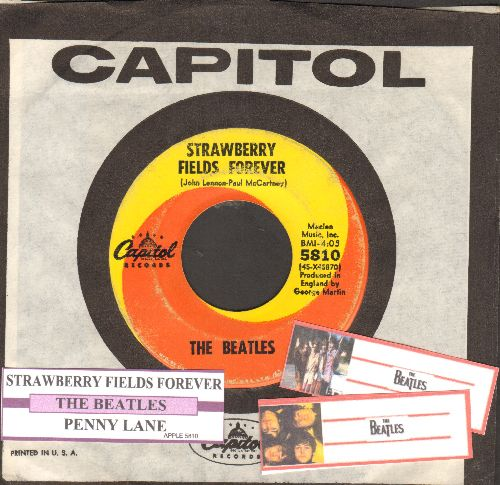 Beatles - Strawberry Fields Forever/Penny Lane (with juke box label and Capitol company sleeve) - VG7/ - 45 rpm Records