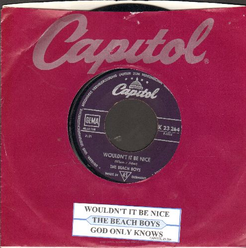 Beach Boys - Wouldn't It Be Nice/God Only Knows (German Pressing with juke box label and Capitol company sleeve) - VG7/ - 45 rpm Records
