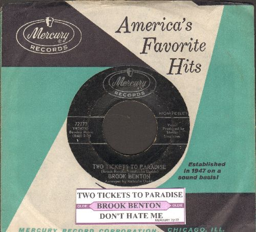 Benton, Brook - Two Tickets To Paradise/Don't Hate Me (with juke box label and vintage Mercury company sleeve) - EX8/ - 45 rpm Records